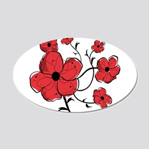 Modern Red and Black Floral Design 20x12 Oval Wall