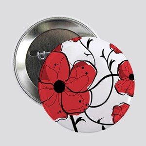 "Modern Red and Black Floral Design 2.25"" Button"