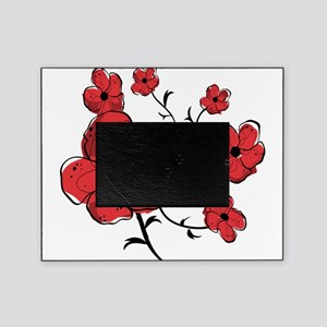 Modern Red and Black Floral Design Picture Frame