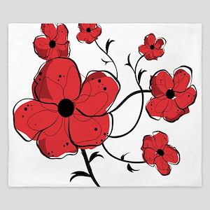 Modern Red and Black Floral Design King Duvet
