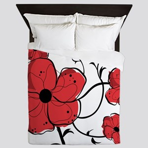 Modern Red and Black Floral Design Queen Duvet