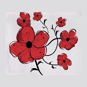 Modern Red and Black Floral Design Throw Blanket