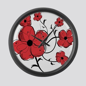 Modern Red and Black Floral Design Large Wall Cloc