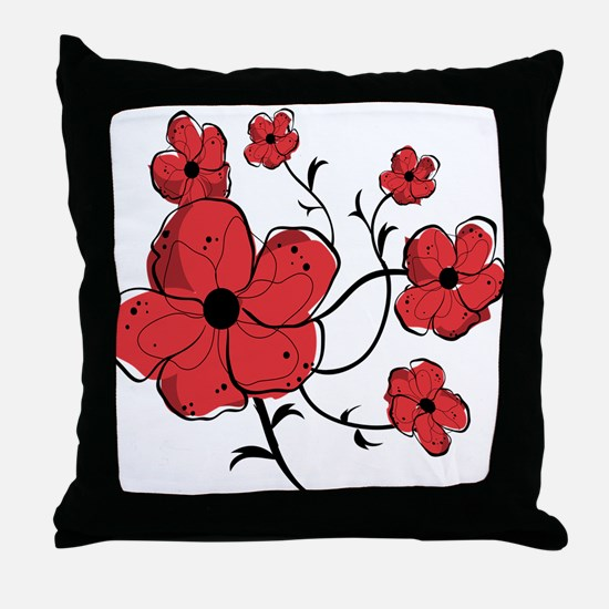 Modern Red and Black Floral Design Throw Pillow