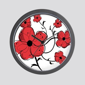 Modern Red and Black Floral Design Wall Clock