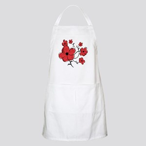 Modern Red and Black Floral Design Apron