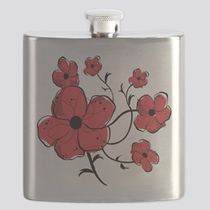 Modern Red and Black Floral Design Flask