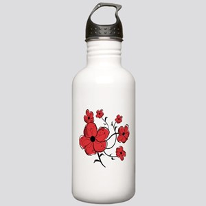 Modern Red and Black Floral Design Stainless Water