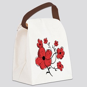 Modern Red and Black Floral Design Canvas Lunch Ba