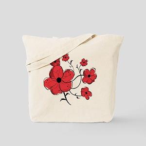 Modern Red and Black Floral Design Tote Bag