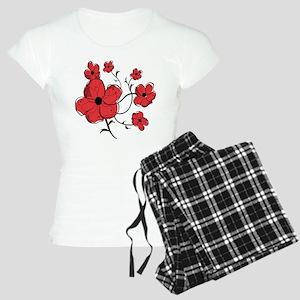 Modern Red and Black Floral Design Women's Light P