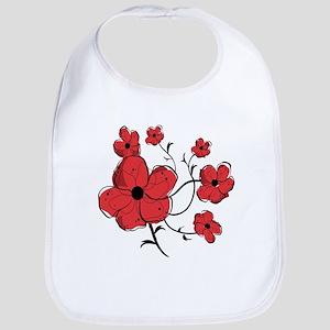Modern Red and Black Floral Design Bib