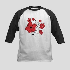 Modern Red and Black Floral Design Kids Baseball J