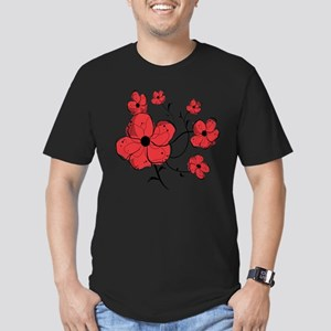 Modern Red and Black Floral Design Men's Fitted T-