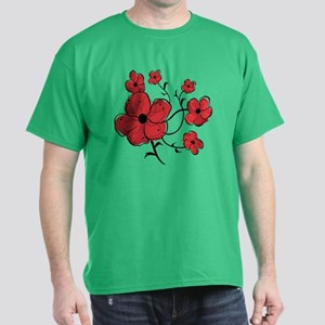 Modern Red and Black Floral Design Dark T-Shirt