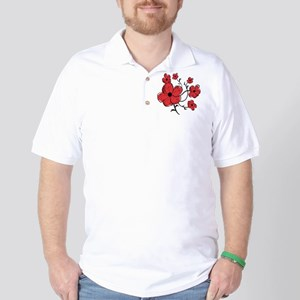 Modern Red and Black Floral Design Golf Shirt