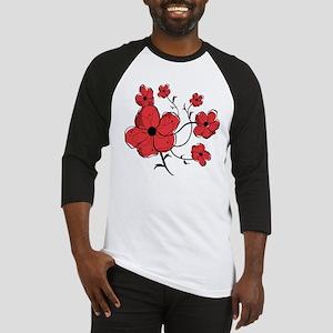 Modern Red and Black Floral Design Baseball Jersey