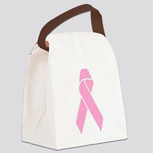 Pink Ribbon Canvas Lunch Bag