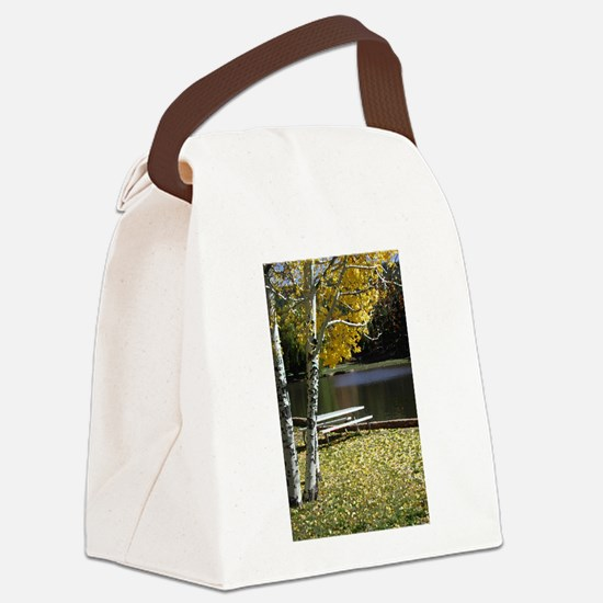 Picnic Table Canvas Lunch Bag