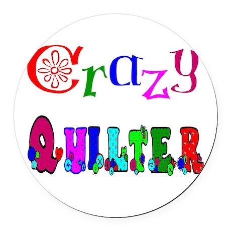 Crazy Quilter Round Car Magnet