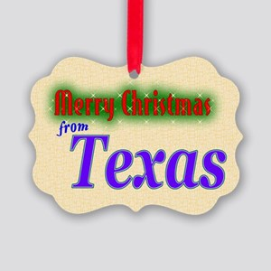 merry christmas from texas picture ornament - Texas Christmas Ornaments