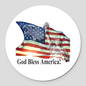 God Bless America! Round Car Magnet