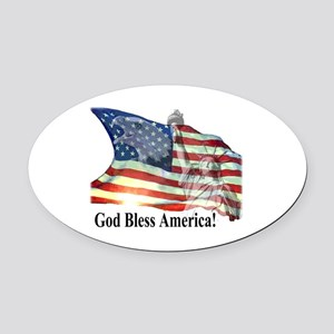 God Bless America! Oval Car Magnet