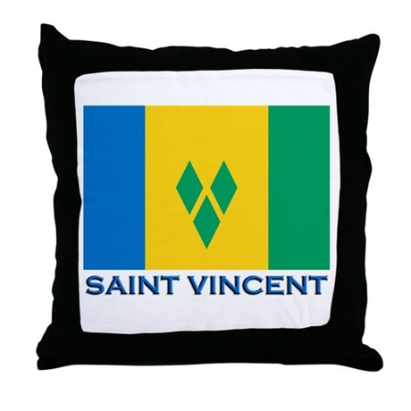 Saint Vincent Flag Gear Throw Pillow