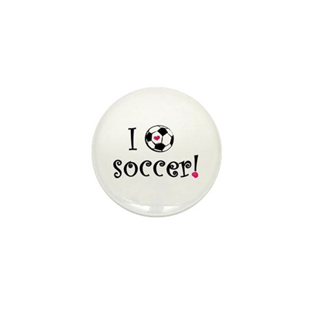 I Love Soccer Mini Button (10 pack)