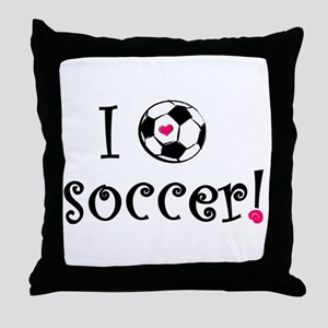 I Love Soccer Throw Pillow