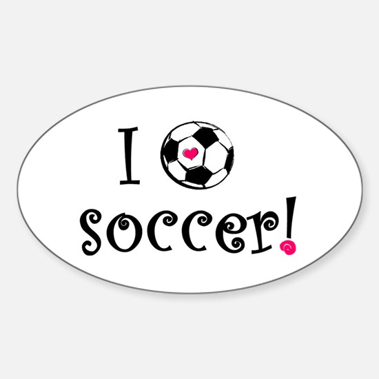 I Love Soccer Oval Decal