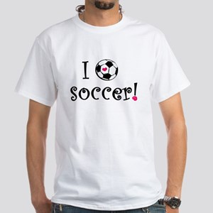 I Love Soccer White T-Shirt