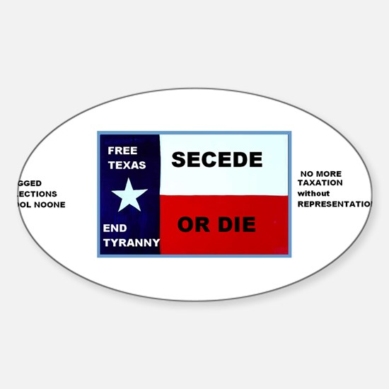 SECEDE OR DIE - FREE TEXAS BUMPER STICKEr Decal