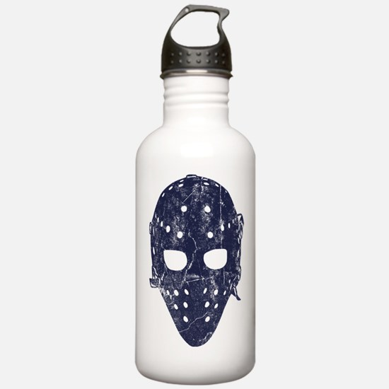 Vintage Hockey Goalie Mask (dark) Water Bottle