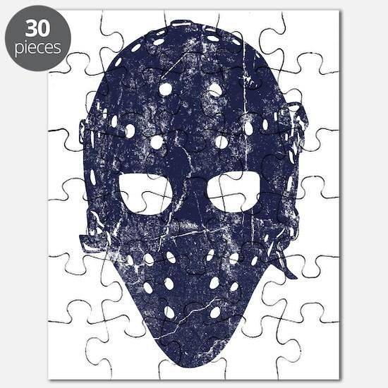 Vintage Hockey Goalie Mask (dark) Puzzle