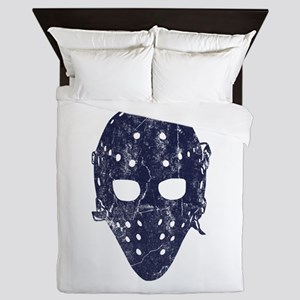 Vintage Hockey Goalie Mask (dark) Queen Duvet