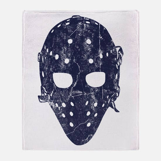 Vintage Hockey Goalie Mask (dark) Throw Blanket