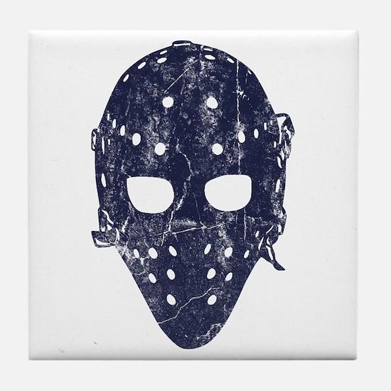 Vintage Hockey Goalie Mask (dark) Tile Coaster