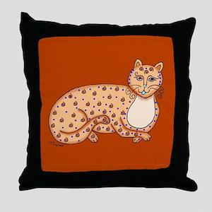 Brown/Yellow Cat Throw Pillow