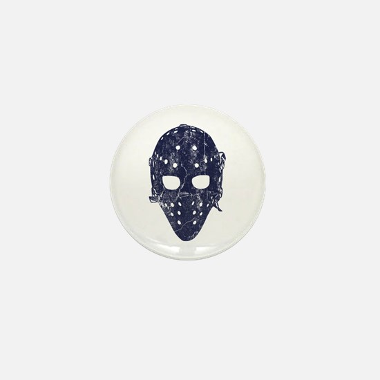 Vintage Hockey Goalie Mask (dark) Mini Button