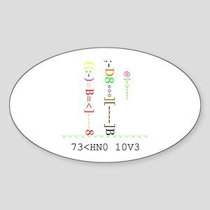 TECHNO LOVE - Oval Sticker