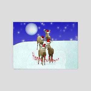 Happy holiday deers 5'x7'Area Rug