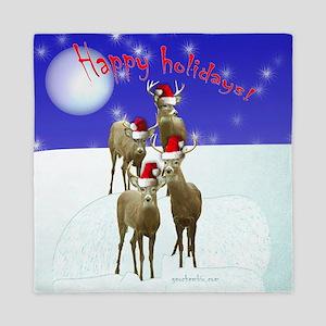 Happy holiday deers Queen Duvet