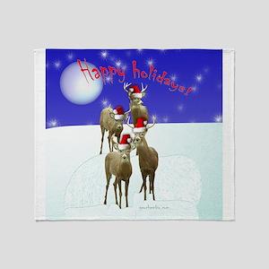 Happy holiday deers Throw Blanket