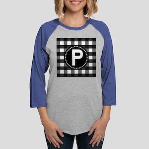 Monogram Letter P Gingham Womens Baseball Tee