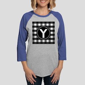 Monogram Letter Y Gingham Womens Baseball Tee