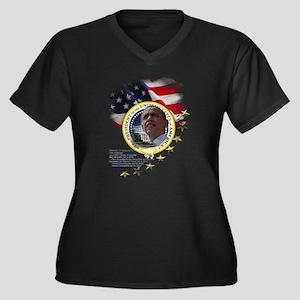 44th President: Women's Plus Size V-Neck Dark T-Sh