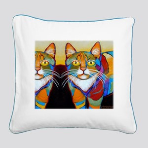 Cat-of-Many-Colors Square Canvas Pillow