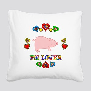 Pig Lover Square Canvas Pillow