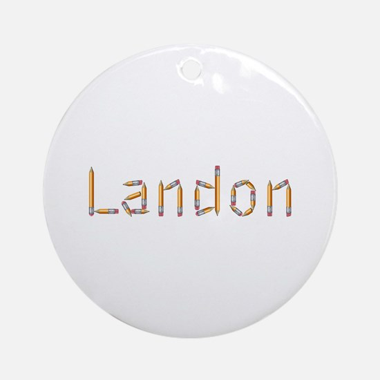 Landon Pencils Round Ornament